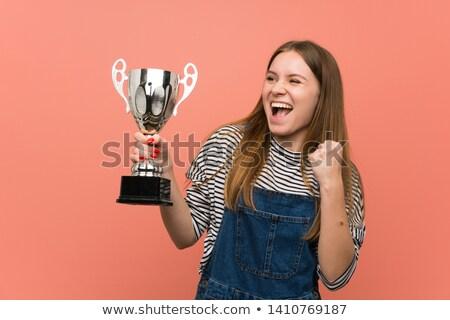 sorridere · ragazza · scherma · trofeo · divertimento - foto d'archivio © feedough