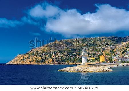 Világítótorony kikötő Törökország napos időjárás épület Stock fotó © natalinka