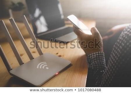sem · fio · router · computador · rede · teia · azul - foto stock © reticent