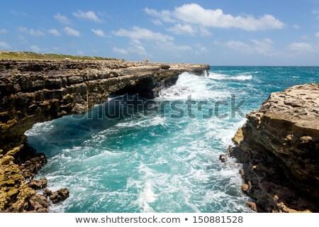 Ponte água nuvens grama natureza Foto stock © scheriton