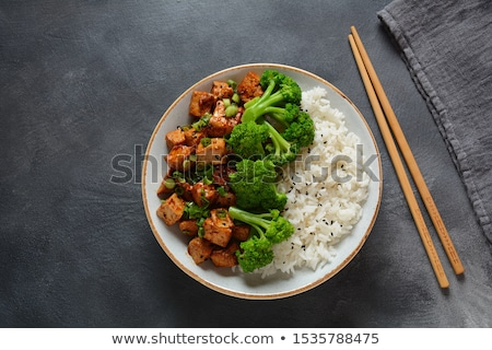 Fried Tofu in Spicy Sauce with Herbs and veggies  Stock photo © tab62