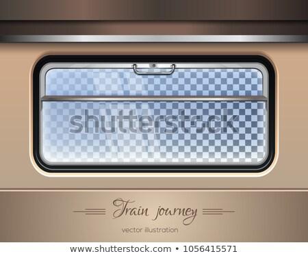 Vonat vagon ablak függöny bent utazás Stock fotó © simply
