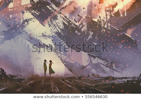 woman on ruins Stock photo © chesterf