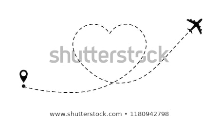 Airplane symbol in shape heart isolated on white background vector