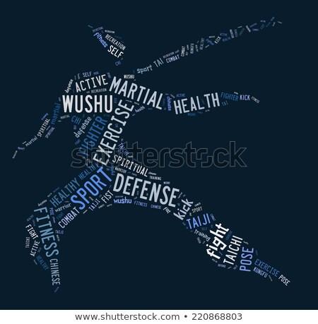 Woordwolk Blauw sport fitness oefening macht Stockfoto © seiksoon