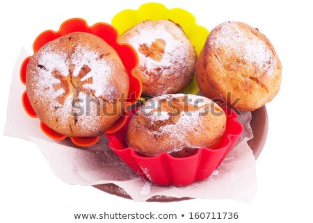 Muffin with icing sugar star, heart and sun in color forms Stock photo © Elmiko