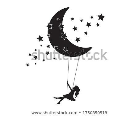 Girl swinging on the moon stock photo © nizhava1956