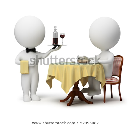 3d small people   waiter with tray stock photo © anatolym