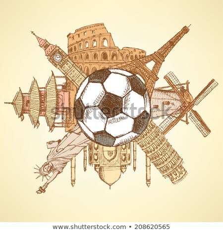 известный архитектура зданий вокруг футбола мяча Сток-фото © kali