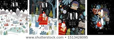 happy merry christmas and new year card winter city vector illustration stock photo © carodi