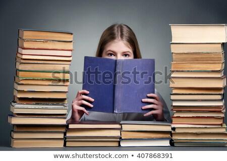 petite · fille · école · livres · souriant · heureusement · fille - photo stock © ilona75