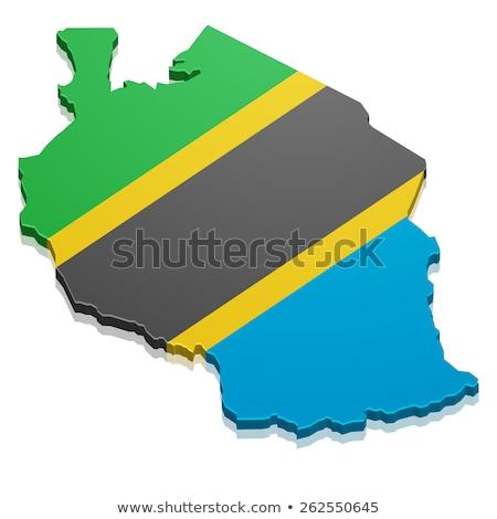 Танзания · карта · большой · размер · черный · флаг - Сток-фото © nirodesign