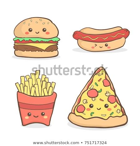 Ham ketchup voedsel vlees chip Stockfoto © M-studio