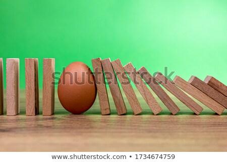 ei · 3D · gegenereerde · foto · domino · rij - stockfoto © flipfine