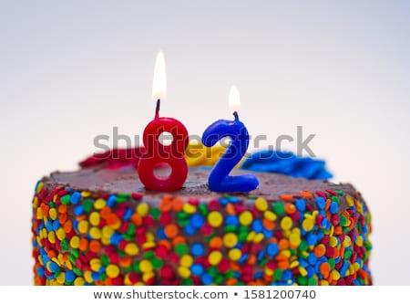 pastel · de · cumpleanos · ardor · vela · número · 60 · torta - foto stock © zerbor