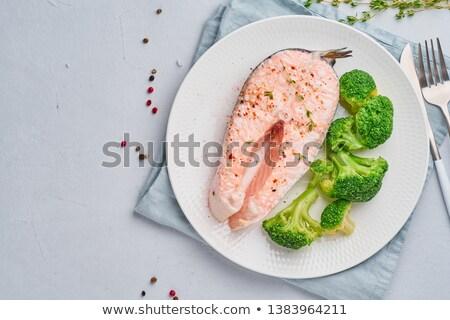 ブロッコリー 鮭 白 ボウル キッチン ストックフォト © zoryanchik