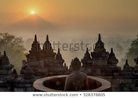 Gündoğumu volkan tapınak Endonezya renkli orman Stok fotoğraf © dinozzaver