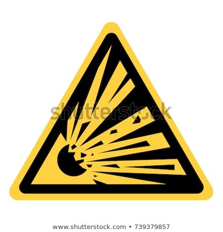 Robbanékony felirat illusztráció citromsárga háromszög terv Stock fotó © nickylarson974