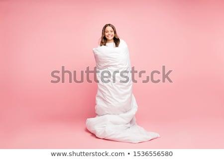 Bella donna rosa accogliente letto seduta donna Foto d'archivio © Pilgrimego