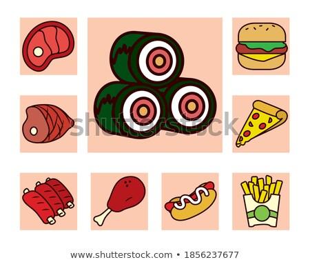cute · cartoon · sushis · isolé · blanche - photo stock © anna_leni