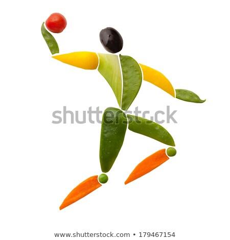 Nyami röplabda gyümölcsök zöldségek forma játékos Stock fotó © Fisher