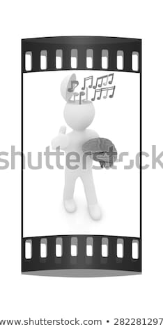People Silhouettes With Film Strip And Music Notes Stock photo © illustrart