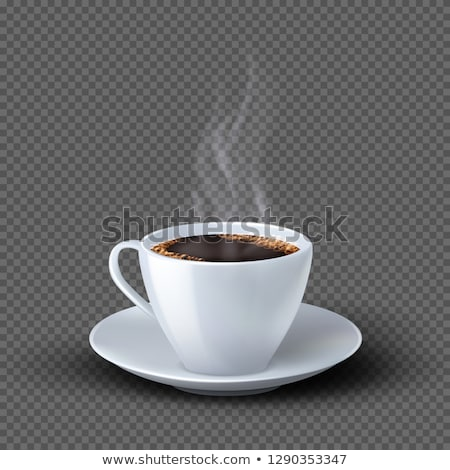 Csészék kávé csészealj fehér kávéscsészék asztal Stock fotó © dla4