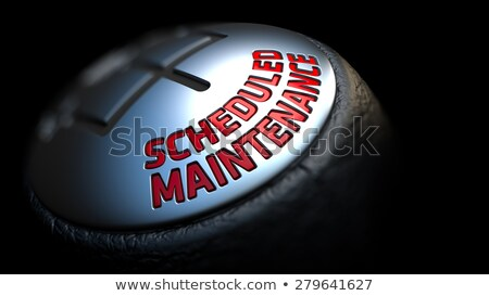 Onderhoud zwarte versnelling Rood tekst leder Stockfoto © tashatuvango