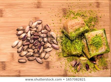 Stock photo: Tasty Turkish Pastries on Tray on Wooden Table