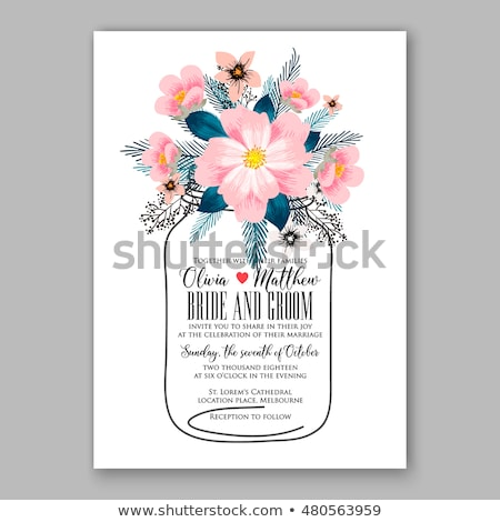 wedding invitation hibiscus and ribbons stock photo © irisangel