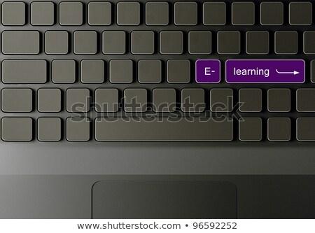 Druk knop afstand leren zwarte toetsenbord Stockfoto © tashatuvango