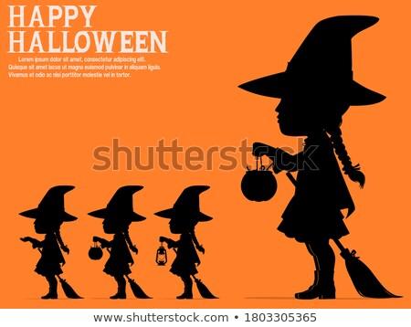 Хэллоуин · Cute · ведьмой · метлой · ночь · мало - Сток-фото © carodi