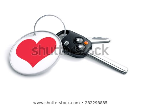 Set of car keys with keyring and red heart icon. Concept for how Stock photo © crashtackle
