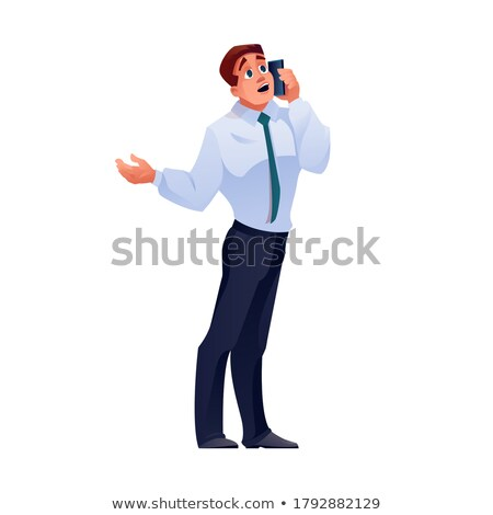 Vector of angry businessman holding a cellphone. Stock photo © Morphart