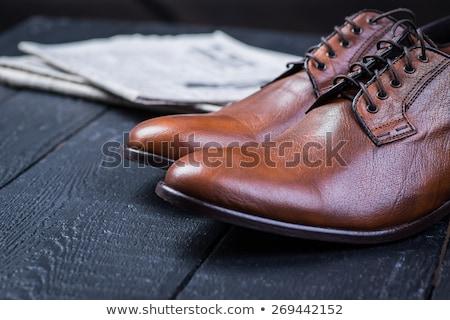 ayakkabı · parlak · siyah · fırçalamak · sarı - stok fotoğraf © ozaiachin