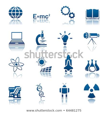 Nukleáris felirat kék vektor ikon gomb Stock fotó © rizwanali3d