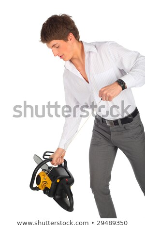 Young man starts chainsaw Stock photo © Paha_L