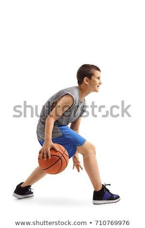 kaukasisch · glimlachend · basketbal · shot - stockfoto © clipartmascots