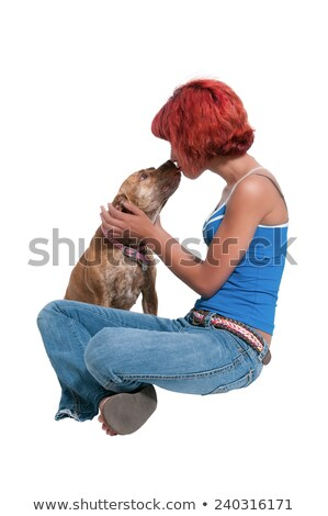 Beautiful Woman and Pit Bull mix dog Stock photo © piedmontphoto
