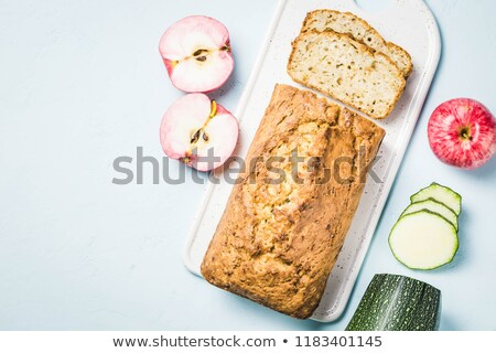 pecan and apple loaf cake sliced stock photo © rojoimages