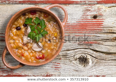 Bean and barley soup garnished with mushrooms Stock photo © ozgur