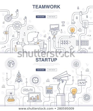 teamwork business concept with doodle design style stock photo © davidarts