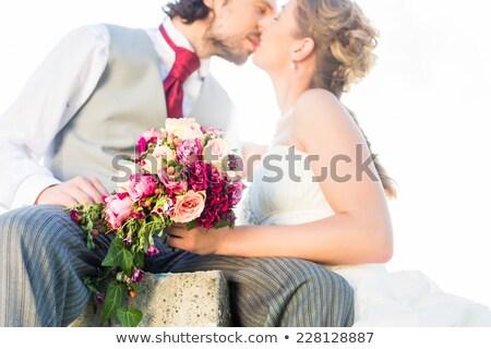 ブライダル ペア キス フィールド 結婚式 女性 ストックフォト © Kzenon
