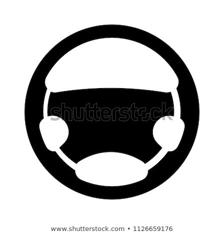 Motorista ícone preto carrinho isolado branco Foto stock © Fosin