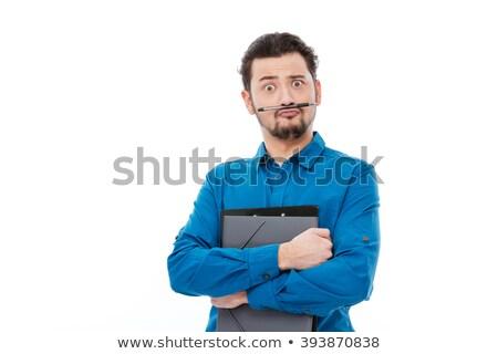 funny · hombre · azul · camisa · pendiente · aislado - foto stock © deandrobot