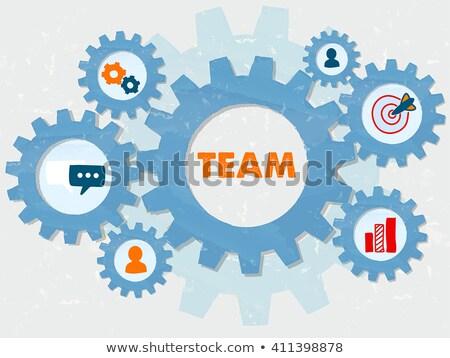 Team And Symbols In Grunge Flat Design Gears Infographic Stockfoto © marinini