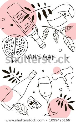restaurant · menu · paars · vork · mes · lepel - stockfoto © cienpies