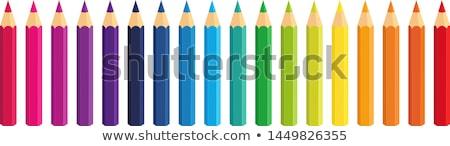 vermelho · azul · lápis · mão · branco - foto stock © devon
