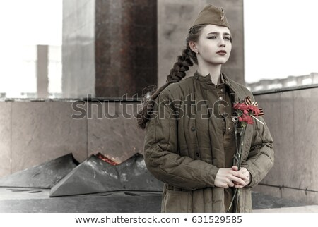 russian girl soldier female soldier in retro military uniforms may 9 victory day stock photo © orensila