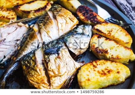 Makréla krumpli edény grillezett hal tányér Stock fotó © Digifoodstock